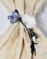 Decorative flowers for curtains and draperies. Curtains And Draperies, Drapery, Flower Decorations, Floral Decorations