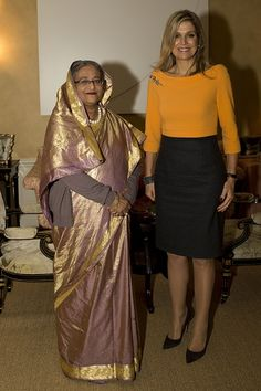 Dutch Queen Maxima poses with meets Sheikh Hasina (L), the prime minister of Bangladesh, prior to their meeting at residence Eikenhorst in Wassenaar, on November 4, 2015.