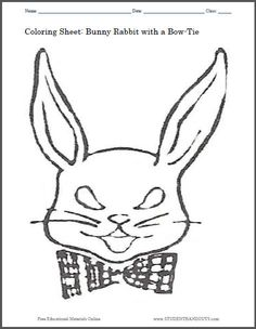 Bunny Rabbit With A Bow Tie Coloring Sheet For Kids