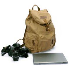 Canvas Vintage DSLR Camera Bag Notebook Laptop Retro Backpack Rucksack Travel Bag With Waterproof Rain Cover Waterproof Camera Backpack, Camera Bag Backpack, Dslr Camera Bag, Shoulder Backpack, Rucksack Backpack, Canvas Backpack, Leather Backpack, Shoulder Bags, Bags