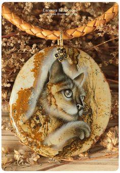"""Купить Кулон с росписью """"Убаюкиватель деревьев"""" (кот, лаковая миниатюра) - кулон с камнем, кулон"""