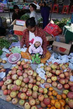 at the market with Mom, Mandalay, Myanmar