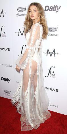 Gigi Hadid in Yanina Couture #redcarpet #style #fashion