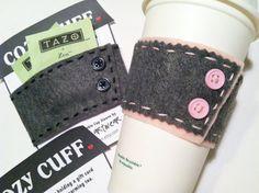 COZY CUFF Reusable Felt Coffee or Tea Cup Cozy with by airzinnn, $5.00