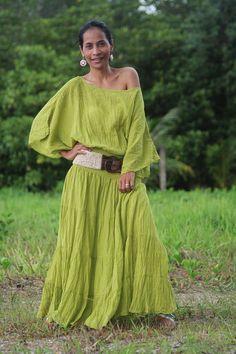 Long Kaftan Maxi Dress Tie Dye Olive Green Boho Cotton by Nuichan, $52.00