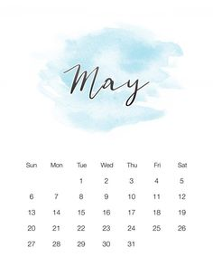 Free Printable 2018 Watercolor Wash Calendar