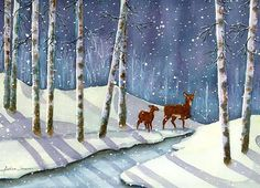 "Andrea's Art Studio ""Moonlit Walk"" Watercolor by Andrea Levasseur"
