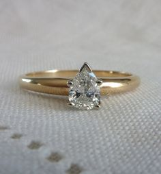A Vintage 14kt Yellow Gold Pear Shaped Diamond Solitaire Engagement Ring - Wendy by RomanceVintageJewels on Etsy