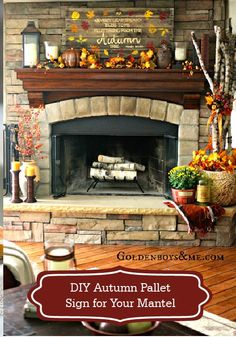 Add some rustic appeal to home décor this season with this DIY autumn pallet sign for your mantel!