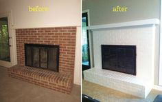 Painting a brick fireplace white.....that's a possibility.....and get a nice ledge on top.