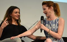 Caterina Scorsone and Sarah Drew - (Grey's Anatomy) Greys Anatomy April, Greys Anatomy Cast, Amelia Shepherd, Caterina Scorsone, Sarah Drew, Supernatural, Mark Sloan, Sandra Oh, Dance It Out