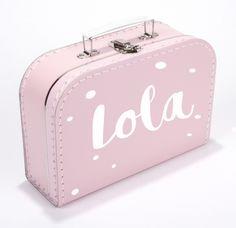 Koffertje met naam confetti stippen type Lola