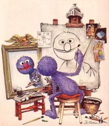 Norman rockwell  parody grover