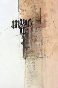 Ute Kreuzer. 2014. 40x50cm. from https://www.facebook.com/photo.php?fbid=837707046251669 Calligraphy Text, How To Write Calligraphy, Typography Inspiration, Sketchbook Inspiration, Graphic Design Typography, Typography Letters, Lettering, Arabic Art, Collages