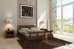 The Kondo Platform Bed features a rustic finish blended with a modern, Asian-inspired design. We invite you to look closely at the lines and curves on this bed and marvel at the beauty of its handcrafted construction. Available in Full, Queen, CA...