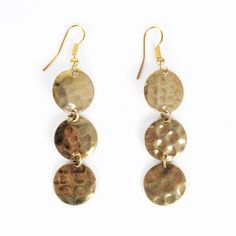 $9 Hammered Brass Dangle Earrings now featured on Fab.