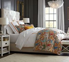 Lorraine Tufted Tall Bed & Headboard #potterybarn ❤️