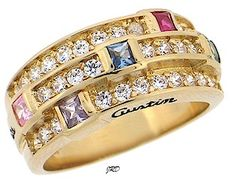 Bella With Genuine Stones- ArtCarved® Personalized Mothers Rings
