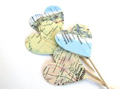 18 Party Picks Cupcake Toppers Vintage Map Hearts by CatchSomeRaes,
