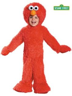 Diy no sew elmo halloween costume recipe holiday favorites toddler sesame street elmo extra deluxe plush costume solutioingenieria Choice Image