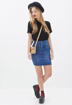 Forever 21 is the authority on fashion & the go-to retailer for the latest trends, must-have styles & the hottest deals. Shop dresses, tops, tees, leggings & more. High Waisted Denim Skirt, Forever 21 Uk, Short Skirts, Jeans, Dress Skirt, Leggings Are Not Pants, Latest Trends, My Style, Casual