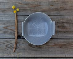 Gray Or Blue Ceramic Serving Kitchen Bowl With Leaf Pattern by FreeFolding on Gourmly