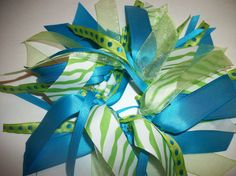 CHEER STYLE - Ribbon Ponytail Holder in Lime Green and Bright Turquoise