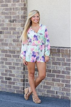 Letting Go Floral Romper - Mint