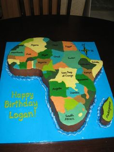 Look at this awesome birthday cake in the design of Africa!!! I think blake would love this!