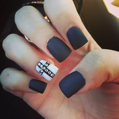 Matte nails with a cross ❤