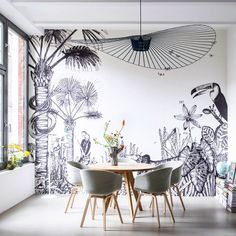 Wall murals are one of the decorator's most powerful tools. Choosing the right mural can have a soothing effect on your entire home. Inspiration Wand, Interior Inspiration, Home Design, Wall Design, Interior Design, Print Design, Modern Design, Mural Art, Wall Murals