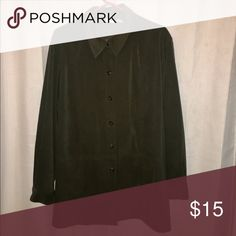 Beautiful, Classy Button Up Blouse This blouse is super comfortable! Made of 96% polyester and 4% spandex..... SUPER soft! Classy worn casual or dressed up..... it is a beautiful dark green color. 💕 Cherokee Tops Button Down Shirts