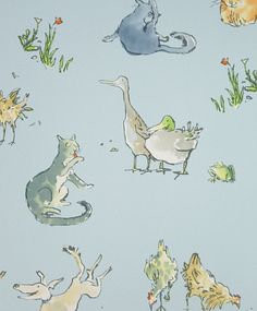 Quentin's Menagerie Wallpaper Wonderful Quentin Blake designed wallpaper of farmyard animals on a light blue background