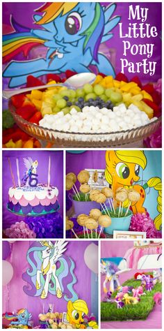 A fun My Little Pony girl birthday party with rainbow fruit, a fondant cake and colorful party decorations!  See more party ideas at CatchMyParty.com!