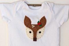 Deer Onesie  Hand Stitched  Baby Girl  by OliveandFriends