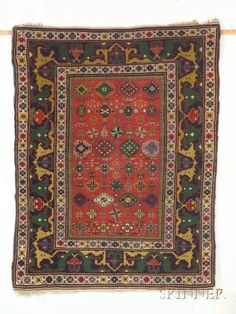 Kuba Rug Northeast Caucasus, early 20th century, 3 ft. 7 in. x 2 ft. 9 in. (Price Realized $1,528)