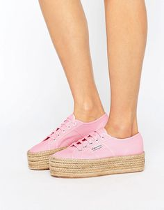 Buy it now. Superga 2790 Espadrille Flatform Trainers In Pink - Pink. Trainers by Superga, Canvas upper, Lace-up fastening, Shaped cuff, Superga tab, Chunky espadrille sole, Textured tread, Wipe with a damp cloth, 100% Textile Upper. ABOUT SUPERGA Italian footwear label Superga have been making their iconic plimsolls for over 100 years. Known for their comfort and versatility, these chic canvas shoes feature distinctive vulcanised rubber soles, and can be tossed in the wash for a vintage…