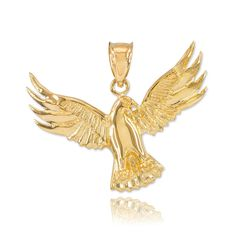Fine 14k Yellow Gold Firebird Charm Phoenix Necklace Pendant. magnificent mythical fire bird necklace pendant or bracelet charm; ancient religious and cultural symbol for the sun, rebirth, or resurrection. expertly handcrafted with solid 14 karat yellow gold in polished finish. comes with free special gift packaging. made in the USA yet offered at factory direct jewelry price. ships within 24 hours from the manufacturer directly to the customers.