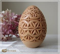 Easter Egg - hand carved basswood egg, easter decoration, wooden pysanka / pisanka, chip carving European folk style, traditional art by Alesthewoodcarver on Etsy https://www.etsy.com/listing/181489170/easter-egg-hand-carved-basswood-egg