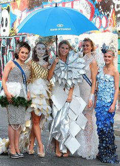 The Hunt is on for Junk Kouture's Young Designers 2015 - Press Releases - Press Room - About Bank of Ireland Fashion Show, Fashion Outfits, Fashion Design, Paper Dresses, Up Costumes, Halloween Carnival, Wig Making, Recycled Fashion, Young Designers