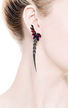 British Couture Collection Earrings with Detachable Black Diamond Feather by Stephen Webster for Preorder on Moda Operandi