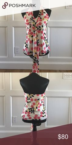 Milly halter top Pink, black and gold floral design. 100% silk. Never worn Milly Tops Blouses