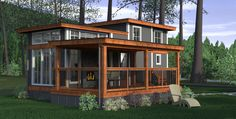Lake Whatcom Cottage The Salish Design Wildwood Lakefront Cottage'sSalish Design is unique and efficient. With a slightly more condensed floor plan, space is well conserved with a 'L' shaped kitchen design and adequate interior storage. Integrated into the space is an area for a Splendide...