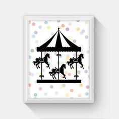Carousel Print, INSTANT DOWNLOAD, Printable Carousel Art Print, Carousel Horse, Carnival Nursery Decor, Kids Room Decor, Polka Dot Art, 8x10 by MasellaDesigns on Etsy https://www.etsy.com/listing/242352368/carousel-print-instant-download