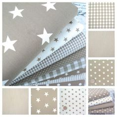 STARS - BEIGE and WHITE COTTON FABRIC by the metre EX WIDE NURSERY BOYS FASHION | eBay