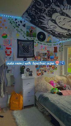 Indie Bedroom, Indie Room Decor, Cute Bedroom Decor, Room Design Bedroom, Room Ideas Bedroom, Aesthetic Room Decor, Bedroom Inspo, Dream Bedroom, Chill Room