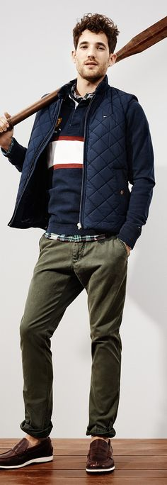 Quilted vest. Nice and simple. Green pants.