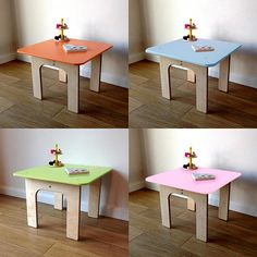 Our handmade, birch plywood table in a choice of colours colour. Designed to offer a family feel when purchased alongside any of our Piggl animal chairs. Suitable to sit alongside with any of our chairs. 12mm thick birch plywood table top hand painted in your choice of blue, green, orange or