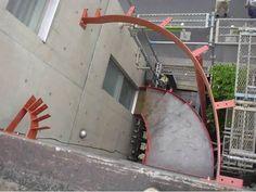 アール階段の下地鉄骨