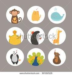 Set of Cartoon animals, cute baby animals. Vector animal, monkey, cat, dog, whale, turtle, peacock, hedgehog, giraffe, panda